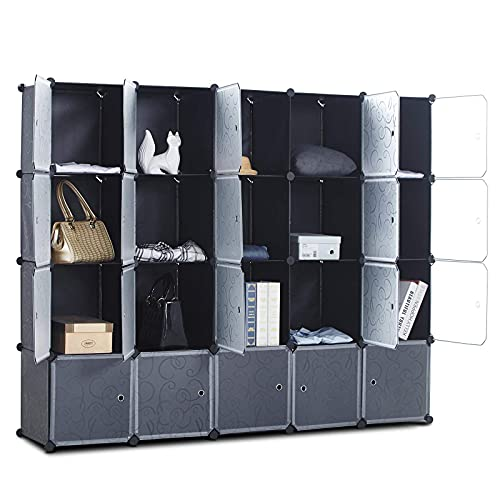 CAMORSA 14 x 14 Cube Storage Organizer with Doors 20 Cubes Portable Closet Storage Cube Wardrobe Armoire DIY Modular Cabinet Shelves Storage for Clothes Books Shoes Toys