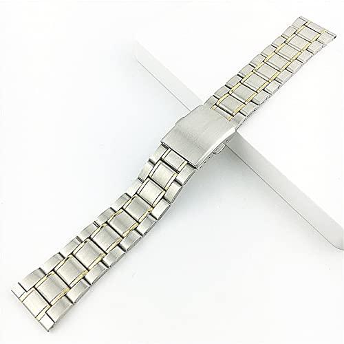 DFKai1run Correa de Acero Inoxidable, 12mm 14mm 16 mm 18 mm 20 mm 22 mm de Acero Inoxidable Reloj de Reloj de Relojes Hombres Metal de Metal con Hebilla Plegable Correa Pulsera Accesorios de Banda de