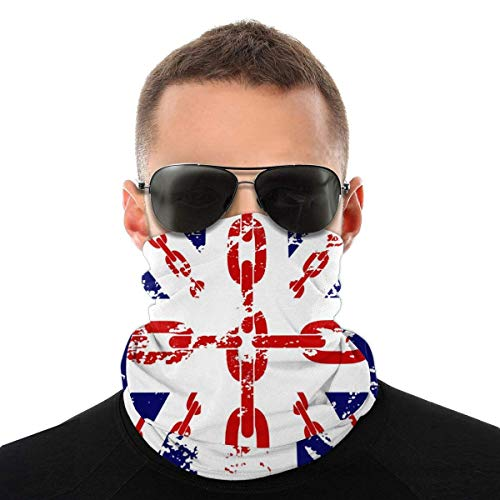 HAMANY British Flag Graphics Chain Half Face Cover Durable Neck Gaiter Breathable Mouth Cover Soft Mouth Muffle Unisex Headwear for Shopping Climbing Outdoor