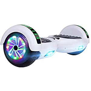 """UNI-SUN Hoverboard for Kids, 6.5"""" Self Balancing Hoverboard with Bluetooth and LED Lights, Bluetooth Hover Board (Bluetooth White)"""