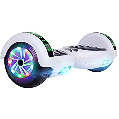 "UNI-SUN Hoverboard for Kids, 6.5"" Self Balancing Hoverboard with Bluetooth and LED Lights, Bluetooth Hover Board (Bluetooth White)"