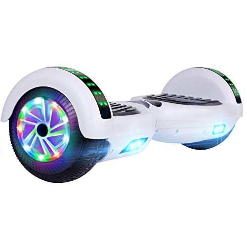 UNI-SUN 6.5'' Hoverboard for Kids, Self Balancing Hoverboard with Bluetooth and LED Lights, Bluetooth Hover Board, White