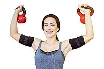 Slimmer Trimmer Premium Arm Trimmers - Pair of Weight Loss Sweat Arm Trainers for Women + Men Thermal Arm Slimming Wraps Arms Fat Burner Trainer Bands Exercise Enhancer Sweating  L-XL  up to 18