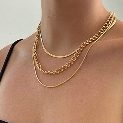 ISMILE Hip Hop Choker Necklace Collar Punk Layered Big Thick Chain Necklace Women Chunky Statement Link Necklace Jewelry