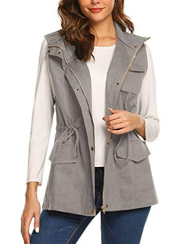 Beyove Women's Sleeveless Lightweight Grey Jacket Vest Coat Medium