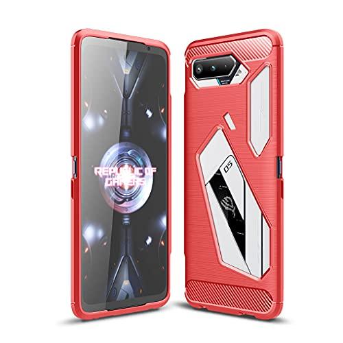 Liner Funda para ASUS ROG Phone 5, Estuche Protectora con Absorción de Impactos y Fibra de Carbono [Silicone Gel Flex], Ultradelgado TPU Bumper Carcasa para ASUS ROG Phone 5 - Rojo