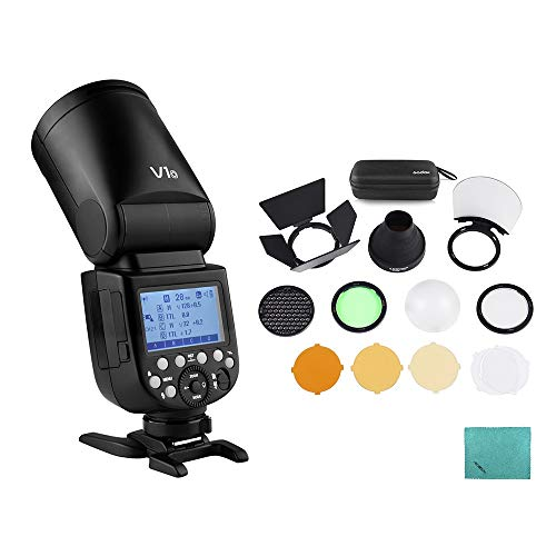 Godox V1O Flash de cámara Speedlite Speedlight Cabeza Redonda inalámbrica 2.4G Fresnel Zoom para cámaras Olympus + Godox AK-R1 Kit de Accesorios de luz de Flash de Bolsillo