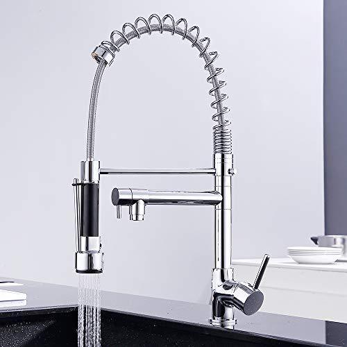 GAVAER Küchenarmatur, 360-Grad-Dreh- und Federauslauf, ausziehbare Handbrause, Küchenarmatur mit zwei Ausläufen Multifunktions-Spülbeckenmischer, Massivmessing, verchromt