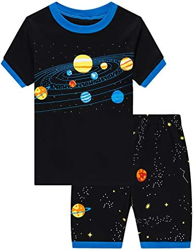 Little Boys Short Set Pajamas for Boys 100 Cotton Toddler Planet Sleepwear Summer Clothes Size product image
