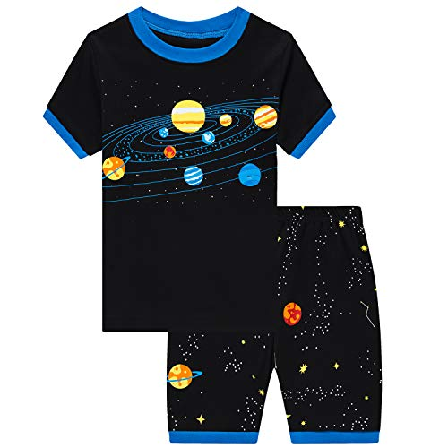 Little Boys Short Set Pajamas for Boys 100% Cotton Toddler Planet Sleepwear Summer Clothes Size 2-7T(Planet-79 6T)
