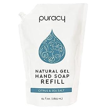 Puracy Natural Gel Hand Soap Refill Sulfate-Free Liquid Hand Wash Citrus & Sea Salt 64 Fl.Oz