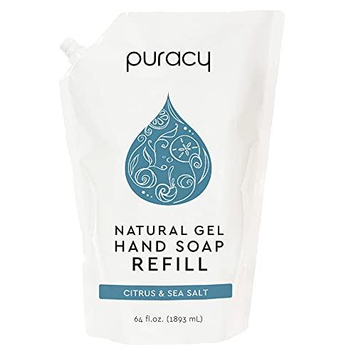 Puracy Natural Gel Hand Soap Refill, Sulfate-Free Liquid Hand Wash, Citrus & Sea Salt, 64 Fl.Oz