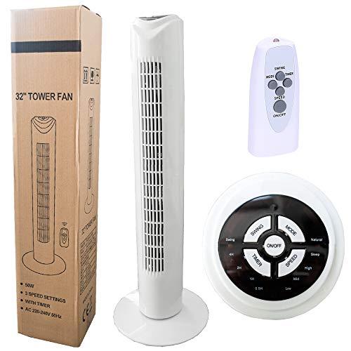 ventilatore a torre 50 db Wessper Ventilatore a Torre con Telecomando - 50W Ventilatore a Colonna di 77 cm a 2 modalità e 3 Livelli di velocità