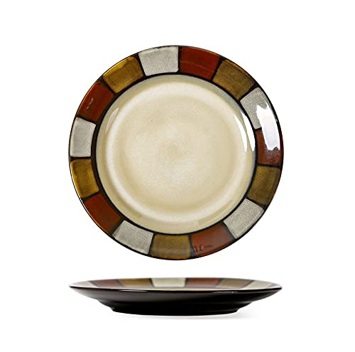 Plato de cerámica Plato de comida occidental Plato para el hogar Desayuno Plato de frutas Restaurante Plato de cena Plato plano para microondas Plato rojo y amarillo 22 cm ( 8,6 pulgadas )