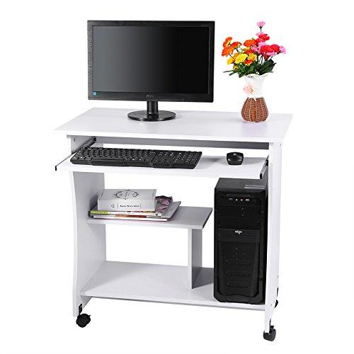 Mesa de ordenador con ruedas, escritorio blanco, mesa de trabajo, mesa de ordenador, mesa de juego con estante para teclado y compartimentos abiertos para oficina, sala de estar, dormitorio, 80x49,5x7