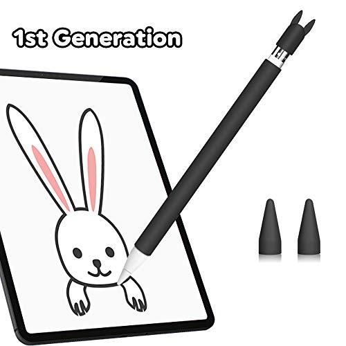Hydream Funda de Silicona para Apple Pencil 1ª Generación, Funda Ultra Delgada Protectora Case Cover Antideslizante Accesorios para iPad Pencil, con 2 Cubiertas de Punta Protectora (Negro)