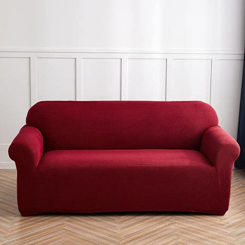 OKJK Fundas Sofa elasticas de 1/2/3/4 plazas, Fundas de Sofa Ajustables, Cubre Sofa de Forro Polar, Resistente a los arañazos, Protector Sofa de Sala de Estar (Red Wine,2 Seater 145-185cm)