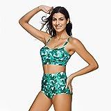 No branded Conjunto de Bikini Mujeres impresión de la Raya Acolchada Empuja hacia Arriba 2 Piezas Bikini Sets Trajes de baño Que Adelgazan Trajes de baño (Color : Verde, Size : XL)