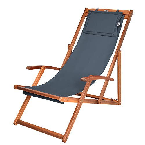 Liegestuhl Deckchair Akazienholz Klappbar Atmungsaktiv Sonnenliege Strandstuhl Gartenliege Relaxliege Anthrazit