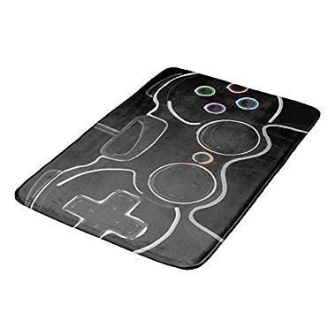 Mialtry Doormat Welcome Mat Indoor/Outdoor Bath Floor Rug Decor Art Print with Non Slip Backing 16x24 inch black video game controller gamer bathroom mat