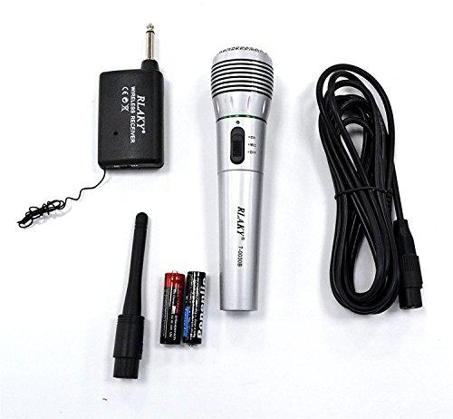 Draadloze en draadloze microfoon, dynamische hi-fidelity, uni-directioneel, met ontvanger, draadloze antenne, wij voor bekabelde microfoon
