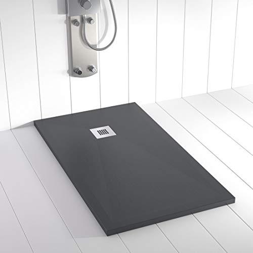 Shower Online Plato de ducha Resina PLES - 80x180 - Textura Pizarra - Antideslizante - Todas las medidas disponibles - Incluye Rejilla Inox y Sifón - Antracita RAL 7011