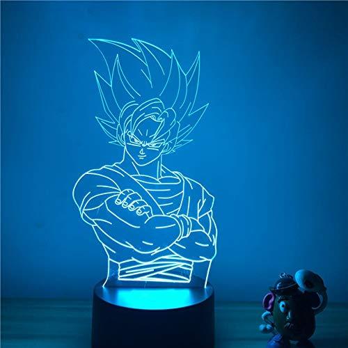 Yanqhua Lámpara de Techo Noche 3D LED lámpara de Tabla Ligera decoración del hogar Modelo Lámpara (Emitting Color : Goku C)