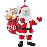 Veiai 2020 Christmas Family Ornament-Masked Santa for Xmas Tree Resin Hanging Ornament Home Decoration (Santa-01)