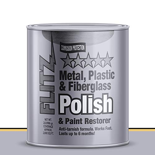Flitz Multi-Purpose Polish and Cleaner Paste for Metal, Plastic, Fiberglass, Aluminum, Jewelry, Sterling Silver: Great for Headlight Restoration + Rust Remover, Made in the USA, 2lb Quart Can