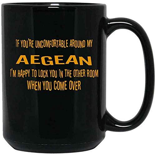 N\A If You 're incómodo Alrededor de mi Taza de café Aegean con Citas para Amantes de los Gatos, dueños de Gatos, cerámica (Negro, 11 oz)