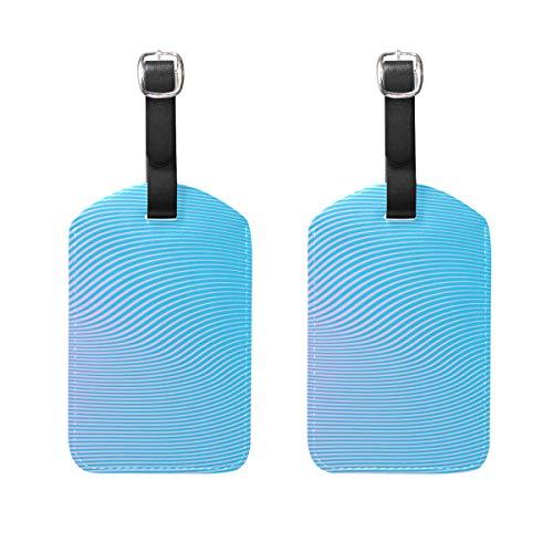 Roze Blauw Verloop 2 STKS PU Lederen Bagage Tag ID Tags Zakelijke Kaart voor Hang op Reistas Bagage Bagage