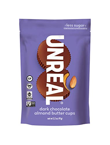 UNREAL Dark Chocolate Almond Butter Cups | Vegan, Gluten Free, Less Sugar | 6 Bags
