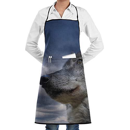 Delantal ajustable con bolsillo con diseño de ojos de lobo cielo y bozal, para hombres y mujeres, para cocinar, hornear, manualidades, jardinería, barbacoas