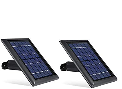 Wasserstein Solar Panel Compatible with Ring Spotlight Cam Battery - Power Your Ring Surveillance Camera continuously (2 Pack, Black)