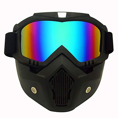 KENGEL Skiing, Snowmobiling, Motorcycle Helmet Riding Goggles Glasses with Removable mask, Detachable Anti-Fog Warm Goggles Oral Filter Adjustable Anti-Skid Belt (Rainbow)