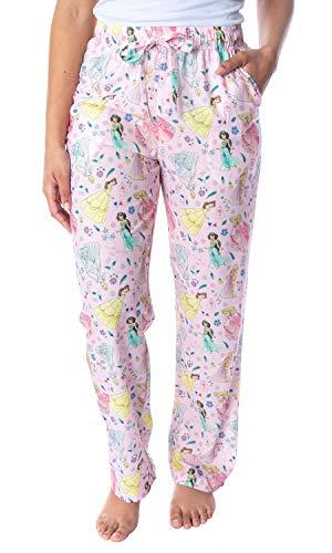 Disney Princess Women's Belle Cinderella Rapunzel Jasmine Aurora Silky Soft Sleepwear Pajama Pants (X-Large)