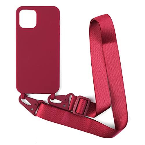 """VALIGETTA Funda con Cuerda Compatible con iPhone 12 / iPhone 12 Pro (6,1""""), Carcasa TPU, Case con Correa Colgante Ajustable Collar Correa De Cuello Cadena Cordón (Rojo Oscuro)"""