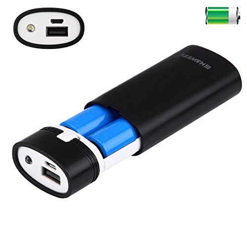 2 x 18650 batterij (niet meegeleverd) 5500 mAh Power Bank Shell Box met USB-uitgang en weergave voor iPhone, Galaxy, Sony, HTC, Google, Huawei, Xiaomi, Lenovo en andere smartphones (zwart) M blue