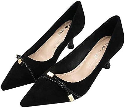 HRCxue Femmes Bout Rond Chaussures à à Talon Pointu pour Femme, en Daim, Noeud Noir Sauvage, Chaussures pour Femmes avec Bouche Peu Profonde, 39, Noir  envoi gratuit dans le monde entier