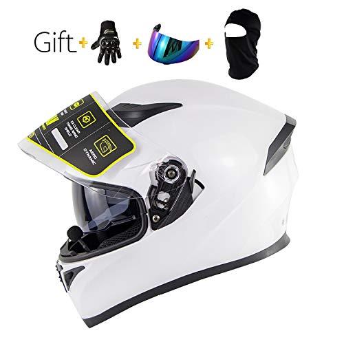 BHQF Weißer Motorrad Bluetooth Vollgesichtshelm/Erwachsener, der Straßenrennen-Motorradsturzhelm Cromwell-Helm Jet Doppelspiegel modularen Flip-Helm/Geschenksatz läuft,S