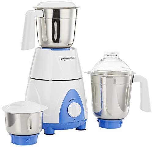 AmazonBasics Premium 750-Watt Mixer Grinder with 3 Jars,White and Blue
