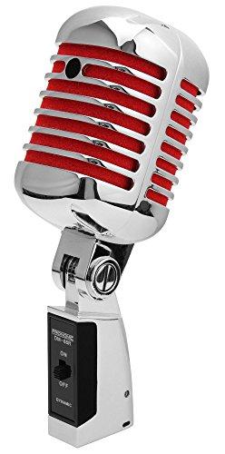 Pronomic DM-66R Mikrofon Dynamisches Vintage Gesangsmikrofon Retro Vocal Mikrofon (Frequenzgang: 50-16.000 Hz, Stabiles Druckgussgehäuse) silber/rot