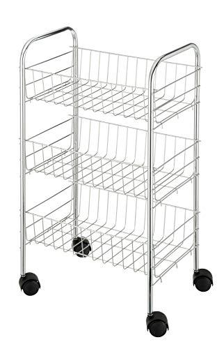 WENKO Rollwagen Florenz Chrom, Küchenwagen mit 3 Etagen und 4 leichtgängigen Rollen, ideal als Servierwagen oder Küchenregal einsetzbar, aus verchromtem Metall, Maße: 38 x 63 x 25 cm