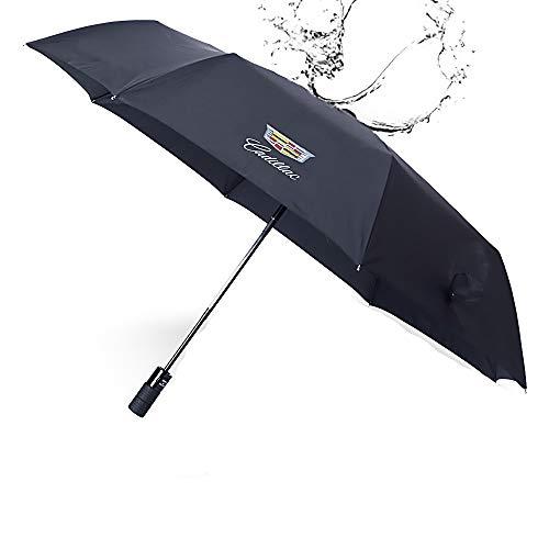 QZS - Paraguas Plegable automático Deportivo, Grande, Resistente al Viento, con Revestimiento de teflón y Logotipo de Coche