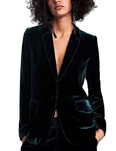 Naliha Femmes Bureau Blazers Costume Un Bouton Velours À Manches Longues Slim Blazer Manteau Vert foncé S