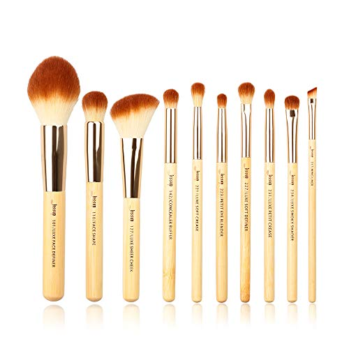 Jessup Make Up Pinsel Set Bambus 10 Stück Schminkpinsel Kosmetikpinsel Augen Gesicht Eyeshadow Brush Lidschatten Synthetische Haare Puder Highlight Eyeliner T143