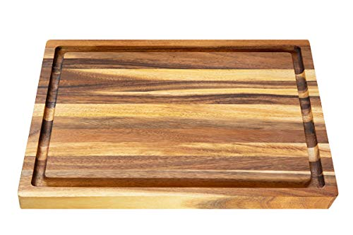 Villa Acacia Wood Carving Board 20 x 15 Inch Large with Juice Groove and Well
