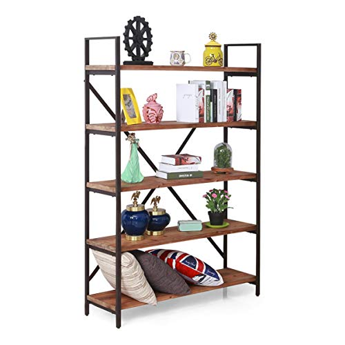 Care Royal Vintage 5 Tier Open Back Storage Bookshelf Industrial 695 inches H Bookcase Decor Display Shelf Living Room Home Office Real Natural Reclaimed Wood Sturdy Rustic Brown Metal Frame
