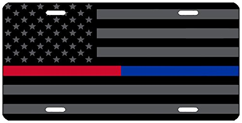 Thin Blue Red Line Lives Matter Flag License Plate Novelty Auto Car Tag Vanity Gift for Police Officer Firefighter PD FD