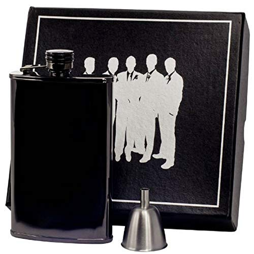 Visol VSET60-6033 Outlaw III Gunmetal Hip Flask Groomsmen Gift Set, 8-Ounce, Gunmetal